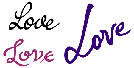 title hands: Set of words love. Original custom hand lettering. Design element for greeting cards , invitations, prints.