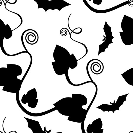 convolvulus: Seamless pattern with leaves and flying bats silhouettes. Original vector background for greeting cards, invitations, prints. Illustration
