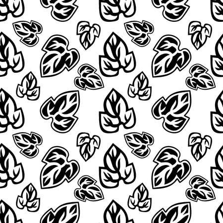 convolvulus: Seamless pattern with leaves contours. Original vector background for greeting cards, invitations, prints.