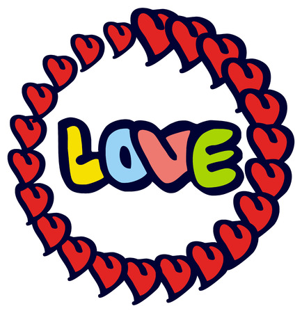 humorous: Humorous emblem with word love. Original custom hand lettering. Design element for greeting cards, invitations, prints.