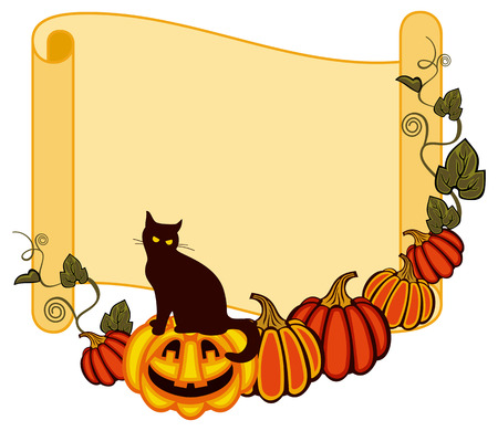 paper scroll: Paper scroll background and a black cat sitting up on the Halloween pumpkin. Original custom design element for greeting cards, invitations, prints. Illustration