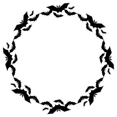 flying bats: Round frame with silhouettes of flying bats. Original background for greeting cards, invitations, prints.Vector clip art.
