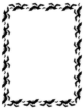flying bats: Vertical frame with silhouettes of flying bats. Original background for greeting cards, invitations, prints.Vector clip art.