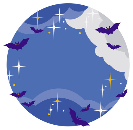 flying bats: Night sky with stars, clouds and silhouettes of flying bats. Original background for greeting cards, invitations, prints.