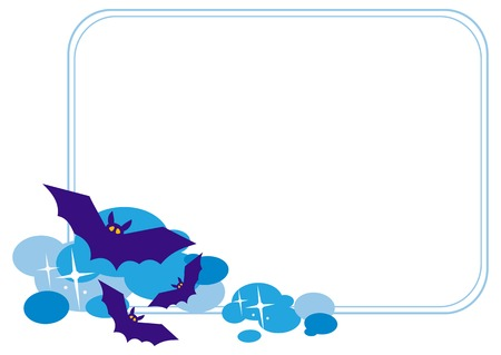 flying bats: Horizontal  frame with silhouettes of flying bats. Original background for greeting cards, invitations, prints.Vector clip art.