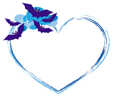 flying bats: Heart shaped frame with silhouettes of flying bats. Original background for greeting cards, invitations, prints.Vector clip art.