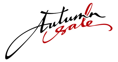 old style lettering: Original custom hand lettering Autumn sale!. Design element for advertisements, flyer, print and web banners.