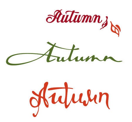 old style lettering: Set of original custom hand lettering Autumn. Design element for advertisements, flyer, print and web banners.