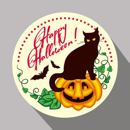 flying bats: Round button with black cat, flying bats, pumpkin and hand drawn text Happy Halloween! Original design element for greeting cards, invitations, prints. Vector clip art.