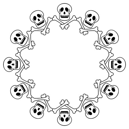 Round Black And White Frame With Skull. Vector Clip Art. Royalty ...