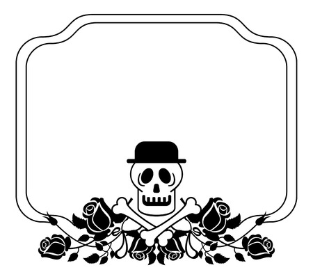 Black And White Frame With Skull In Hat And Roses. Vector Clip ...