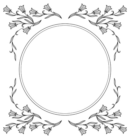 campanula: Elegant round frame with bluebells.  Design element for advertisements, pages, flyer, web, wedding and other invitations or greeting cards. Vector clip art.