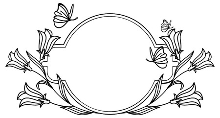 Elegant round frame with bluebells and butterfly.  Design element for advertisements, pages, flyer, web, wedding and other invitations or greeting cards. Vector clip art.