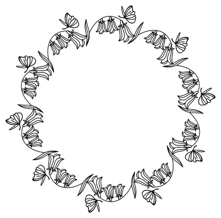 campanula: Elegant round frame with bluebells and butterfly.  Design element for advertisements, pages, flyer, web, wedding and other invitations or greeting cards. Vector clip art.