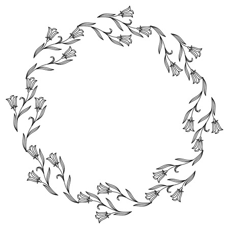 campanula: Elegant floral round frames.  Design element for advertisements, pages, flyer, web, wedding and other invitations or greeting cards. Vector clip art.