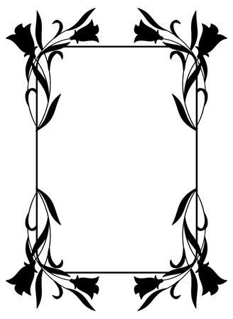 framework: Rounded corners vertical framework with bluebells silhouette. Design element for advertisements, flyer, web, wedding and other invitations or greeting cards. Vector clip art.