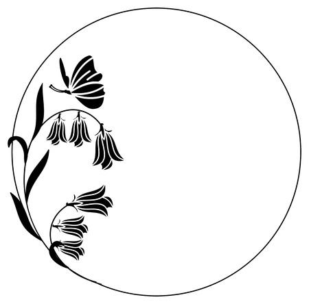 cadre rond élégant avec jacinthes et papillon. élément de design pour des publicités, prospectus, web, mariage et autres invitations ou salutation cards.Vector clip art.