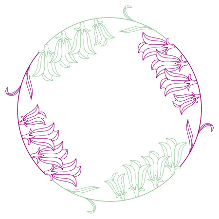 campanula: Elegant color round frame. Design element for advertisements, flyer, web, wedding and other invitations or greeting cards.Vector clip art.