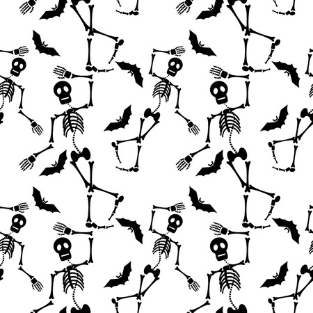 churchyard: Seamless pattern with skeleton silhouette. Vector clip art.