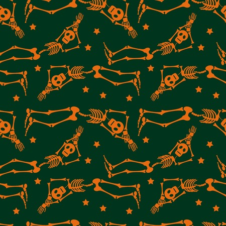 necropolis: Seamless pattern with skeleton silhouette. Vector clip art.