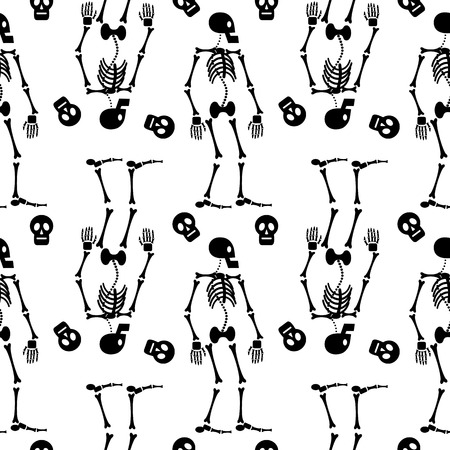 Seamless pattern with skeleton silhouette. Vector clip art.
