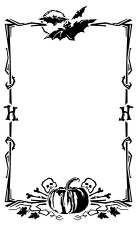 Vertical Halloween frame. Vector clip art.
