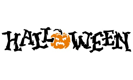 single word: Halloween single word isolated on a white background. Original written word for greeting cards and invitations. Vector clip art.