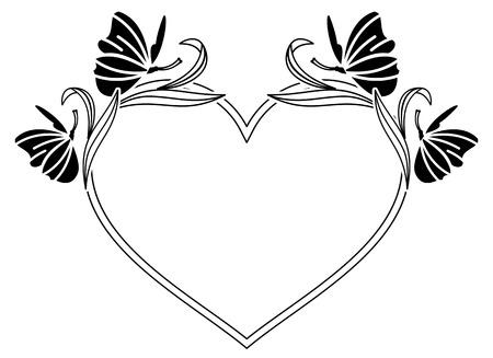 elegante del corazón con marco en forma de campanillas. Clip art.