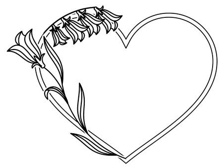 Elegant heart shaped frame with bluebells. Vector clip art.