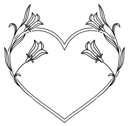 campanula: Elegant heart shaped frame with bluebells. Vector clip art.