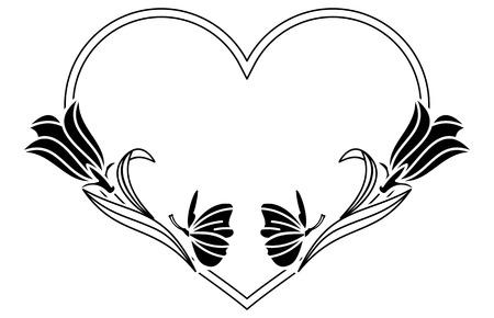 shaped: Elegant heart shaped frame with bluebells. Vector clip art.