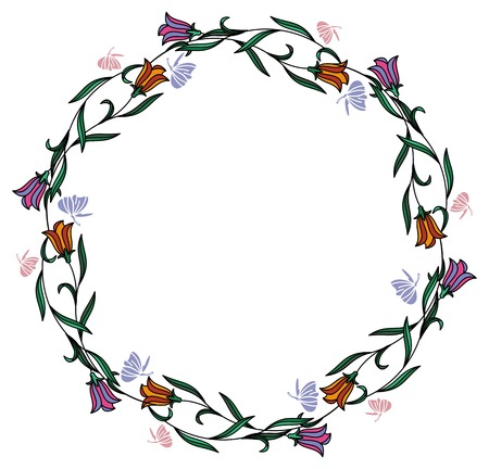 floral ornaments: Color round frame with bluebells. Vector clip art.