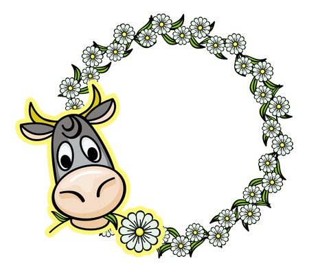 moo: Cartoon cow and round flower frame.Vector clip art.