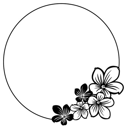 Black and white round frame with abstract flowers silhouettes. Vector clip art.
