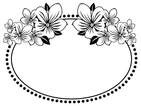 circle flower: Black and white oval frame with abstract flowers silhouettes. Vector clip art. Illustration