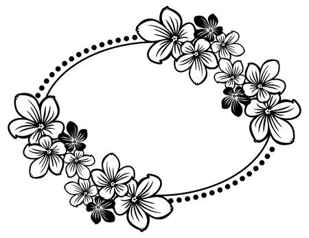 Noir et blanc cadre ovale avec des fleurs abstraites silhouettes. Vector clip art.