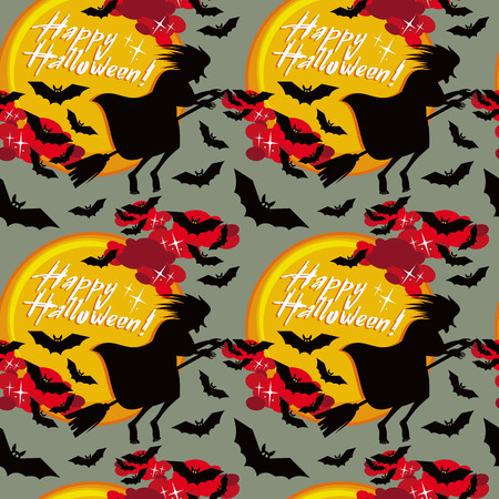 flying witch: Halloween seamless pattern with flying witch. Vector clip art.