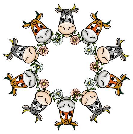 moo: Round frame with cartoon cows. Vector clip art.