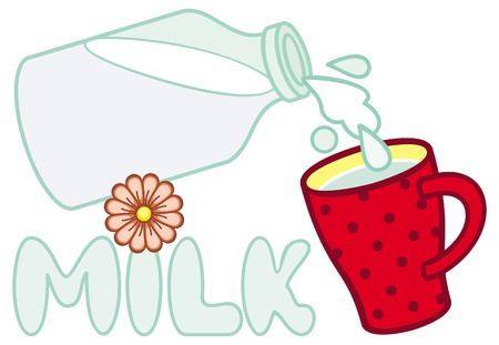 red cup: Red cup and bottle of milk. Vector clip art.