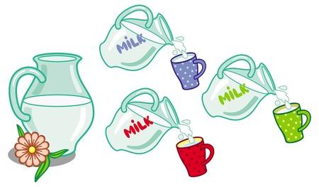 moo: Milk jug with cups. Vector clip art. Illustration