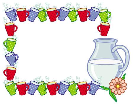 milk jug: Vector frame with milk jug with cups.