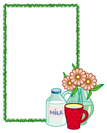 moo: Vertical frame with bottle of milk and a cup.Vector clip art.