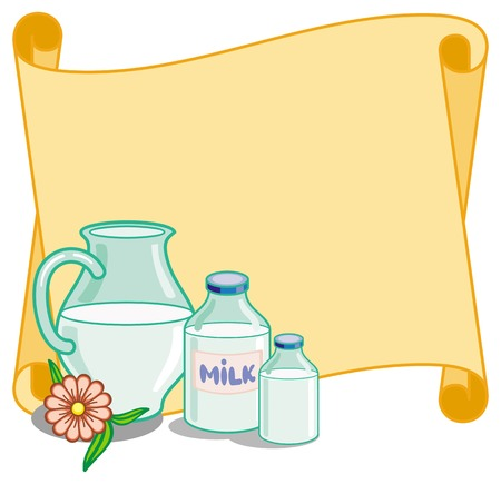 sterility: Paper scroll background with bottles of milk and jag. Vector clip art.