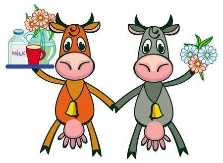 moo: Two funny cartoon cows. Vector clip art. Illustration