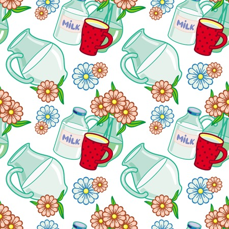 milk jugs: Seamless pattern with milk jugs. Vector clip art.
