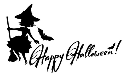 enchantment: Silhouette of a witch flying on broom and holiday greeting Happy Halloween!.Vector clip art.