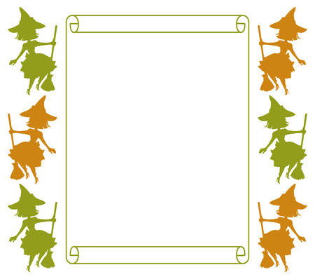 paper spell: Outline paper scroll and silhouette of a witch. Vector clip art. Illustration