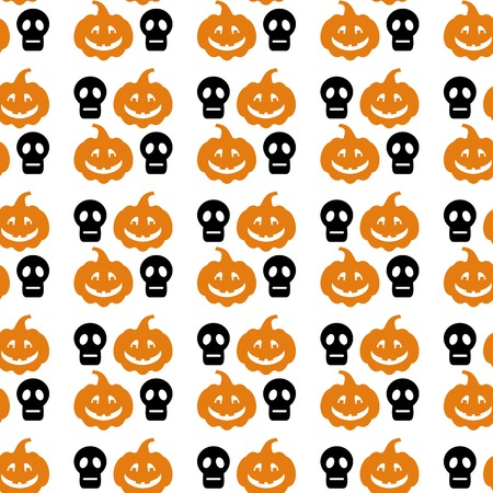 Seamless Halloween pattern with skull and pumpkin silhouette. Vector clip art.
