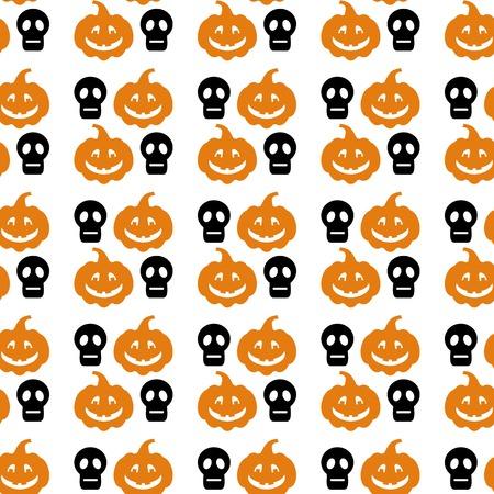 churchyard: Seamless Halloween pattern with skull and pumpkin silhouette. Vector clip art.