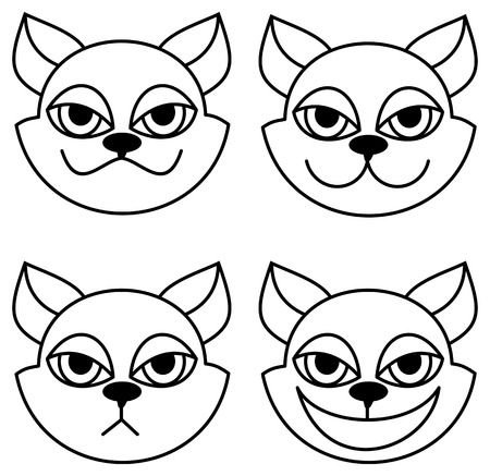 lowbrow: Outline image of a cartoon cat. Vector clip art